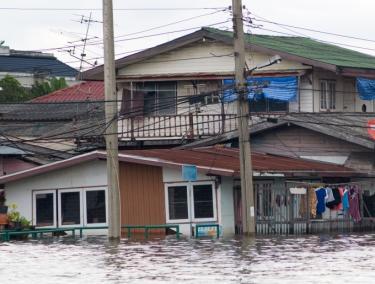 Flooded houses in Bangkok, Thailand