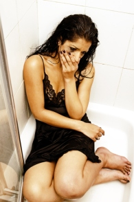 Woman in shower.